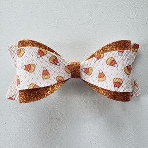 Candy corn leather hairbow clip